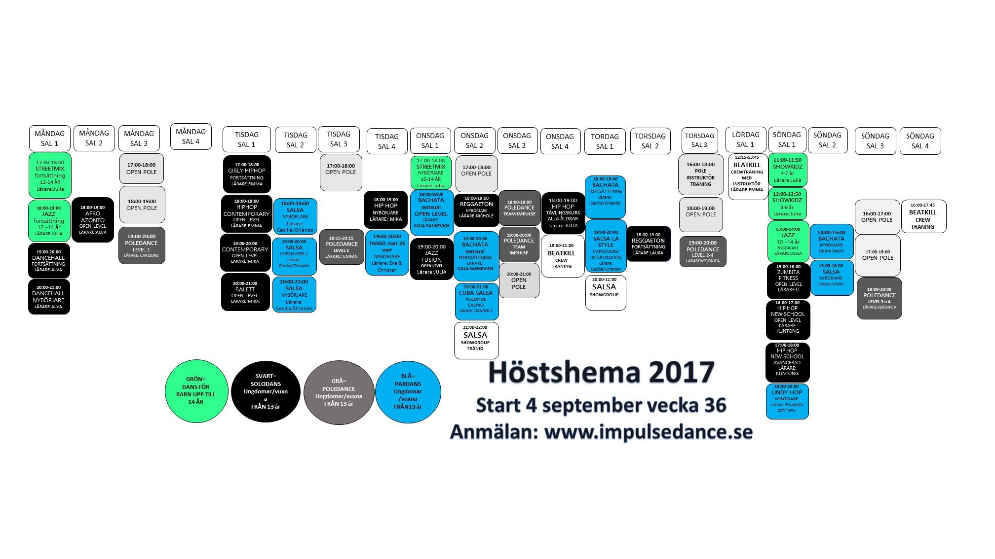 TITTA HIT SCHEMA 170917 Impulse Helsingborg Schema